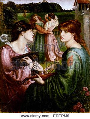 Die Laube Wiese von Dante Gabriel Rossetti, 1850-1872. Hintergrund der Arbeit gezeichnet im Freien, 1850, Sevenoaks, - Stockfoto