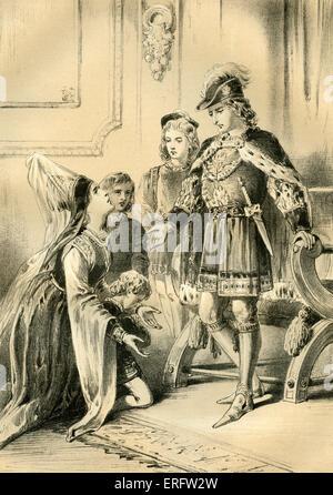 Lady Jane Grey (1536/1537 – 12. Februar 1554), Edward VI trifft sich zum ersten Mal (Cousine). Lady Grey war Großnichte - Stockfoto