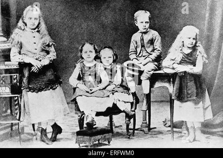 Marie Curie als Kind mit ihrem Bruder und Schwestern. Von links nach rechts sind Zosia, Hela, Manja (Marie Curie), - Stockfoto