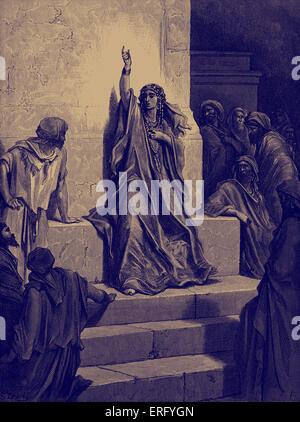 Deboras Lied des Triumphes. Biblische Szene aus dem alten Testament.  Holzschnitt von Gustave Doré (1832-1883). - Stockfoto