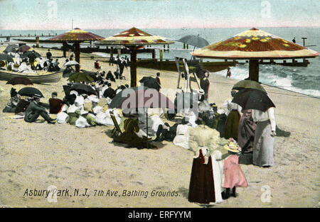 Am Meer-Szene in Asbury Park, New Jersey, 7th Avenue, Baden Gelände.  Postkarte frankiert 1901. - Stockfoto