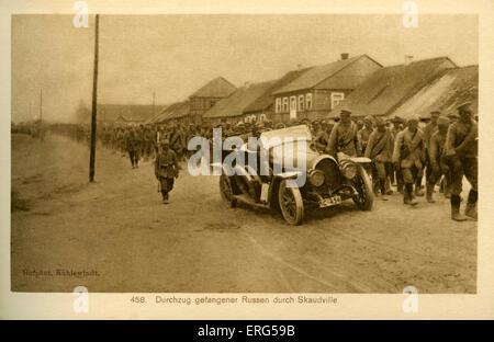 Am östlichen Front Städte unter deutscher Besatzung Weltkrieg. Foto entnommen, zeigt erfasst Russen marschierten - Stockfoto