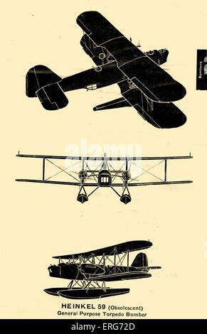 Heinkel er 59, ein deutscher Doppeldecker von der deutschen Luftwaffe während des zweiten Weltkrieges verwendet. - Stockfoto