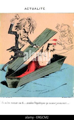 Die 1871 Paris Kommune - Karikatur. Regierung, die Frankreich, 18. März - 28. Mai 1871 regierte. Zeigt zwei Männer, - Stockfoto