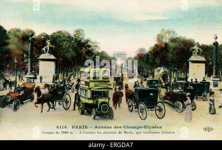 Avenue des Champs - Elysées, Paris, um 1900. Mit Blick auf den Arc de Triomphe im Hintergrund. - Stockfoto
