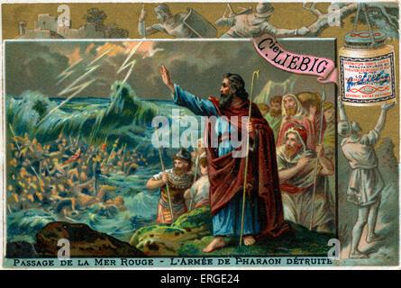"""Die Teilung des Roten Meeres. """"dann Mose seine Hand aus über das Meer streckte, und der Herr das Meer wieder durch - Stockfoto"""