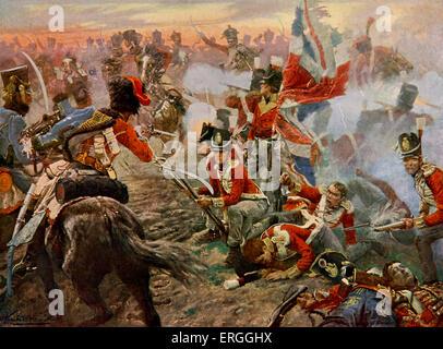 Schlacht von Quatre Bras - aus Gemälde von Vereker.  Kampf zwischen Anglo-niederländische Armee Wellingtons und - Stockfoto