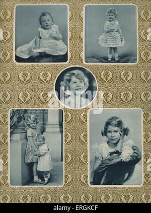 """Elizabeth II (1926-) als Kind. Oben links ist beschriftet """"1926, als ein paar Monate alt '; oben rechts, 1928, als sie zwei war """"; Stockfoto"""