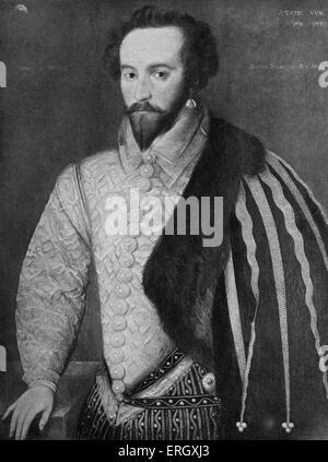 Walter Raleigh: Englischer Schriftsteller, Dichter, Höfling und Explorer, C 1552 – 29. Oktober 1618. - Stockfoto
