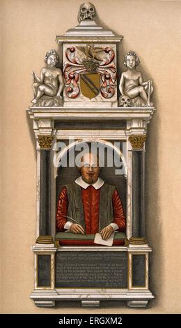 William Shakespeare - Büste des englischen Dichters und Dramatikers an der Pfarrkirche, Stratford-on - Avon William Shakespeare-