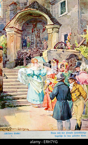 """Abbildung von Schiller's """"Das Lied von der Glocke"""" (Das Lied von der Glocke) (I). Schlange von Menschen, eine Art - Stockfoto"""