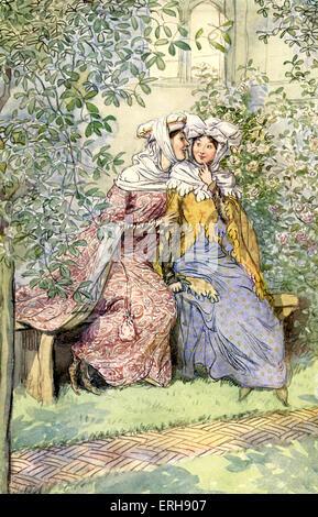 Die lustigen Weiber von Windsor von William Shakespeare. Illustration von Hugh Thomson, 1910. Akt II, Szene 1. Bildunterschrift: - Stockfoto