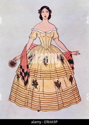 Dame ein Ballkleid tragen c.1860. In diesem Stil war der Rock ein deux Jupes (zwei Teile), dekoriert mit Blumen - Stockfoto