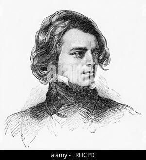 Alfred Tennyson, Porträt, 1838. Englischer Dichter und ehemaligen Hofpoet 6. August 1809 – 6. Oktober 1892. Nach - Stockfoto