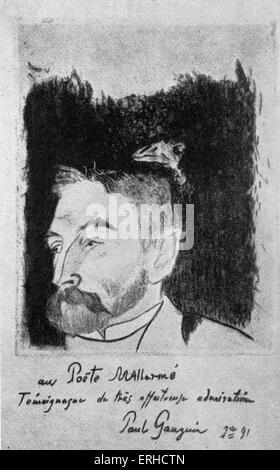Porträt (Étienne) Stéphane Mallarmé von Paul Gauguin. Die Rabe über die Sitter Kopf kann zu seiner Übersetzung des - Stockfoto