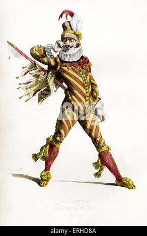 Il Capitano Spavento Kostüm, 1577 - gezeichnet von Maurice Sand, veröffentlicht im Jahre 1860. Commedia Dell' Arte Charakter. Italienische Version des spanischen Capitan Matamoros und Französisch Capitaine Fracasse. Er trägt einen Hut, gekräuselten Kragen.