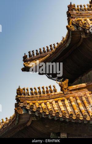 Dachdetails in der verbotenen Stadt, Peking, China - Stockfoto