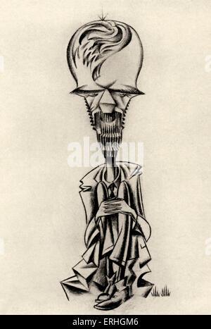 David Herbert Lawrence - Karikatur des englischen Dichters und Schriftstellers. Zeichnung von Coia. Nicht in der - Stockfoto