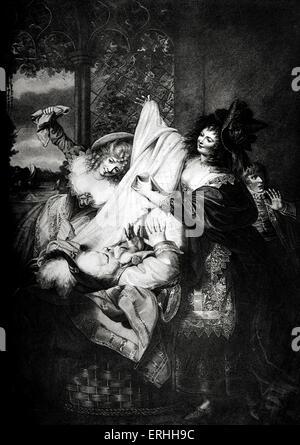Shakespeares spielen die lustigen Weiber von Windsor - Akt III, Szene III: Frau Page, Mrs Ford und Falstaff. Falstaff: - Stockfoto