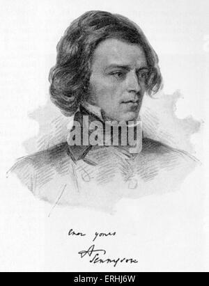 Alfred Lord Tennyson - signiert Portrait von dem englischen Dichter-Laureatus. 6. August 1809 - 6. Oktober 1892. - Stockfoto