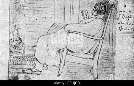 Alfred Lord Tennyson - Porträt des englischen Dichter-Laureatus. Skizze von J. Spedding. 6. August 1809 – 6. Oktober - Stockfoto