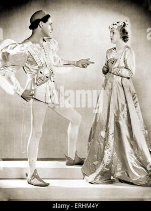 """Ivor Novello als """"Romeo"""" & Joan Barry als """"Julia"""" in der Maske des """"Romeo & Julia"""", London 1933. IN, walisische Schauspieler & Sänger: 15"""