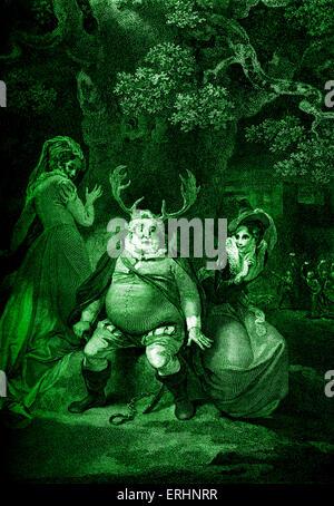 Shakespeares spielen die lustigen Weiber von Windsor - Akt V Szene V. Falstaff, Mrs Ford und Frau Page.  Mrs Ford: - Stockfoto