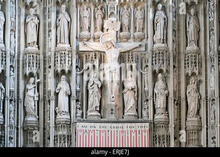 Detail der Hochaltar in der Kathedrale von St. Albans, Hertfordshire - Stockfoto