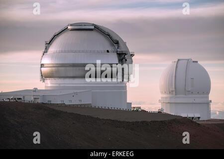 Mauna Kea Gemini Observatory, University of Hawaii, Dämmerung, Big Island, Hawaii, USA - Stockfoto