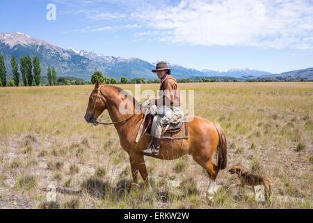 Gaucho auf dem Pferderücken, Patagonien, Argentinien, Südamerika