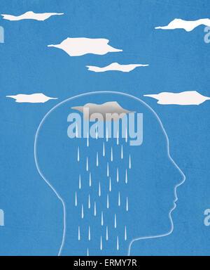 Kopf Silhouette und Regen digitale illustration - Stockfoto