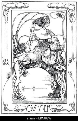 """Jugendstil Sommer Linie 1899 """"Malvolio"""" Illustration von Olive Allen Studio Magazin Wettbewerb - Stockfoto"""