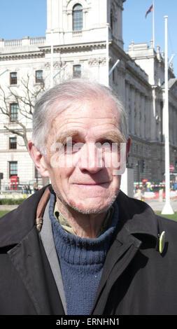 Brian Haw war ein außerordentlich zäh Frieden Kämpferin, dass kampieren außerhalb der Houses of Parliament seit - Stockfoto