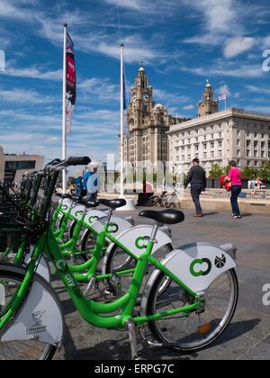 Liverpool Fahrradträger Verleih - Stockfoto