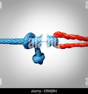 Freistehende Konzept und getrennte Symbol als zwei verschiedene Seile gebunden und als Bruch Kette und verlieren Vertrauen oder glauben Metapher als Trennung und Scheidung oder zerbrochene abgetrennten Beziehung miteinander verknüpft.
