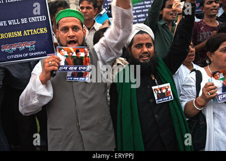 Demonstrant nach Terroranschlag von Deccan Mudschaheddin in Bombay Mumbai; Maharashtra; 3. Dezember 2008 kein Herr - Stockfoto