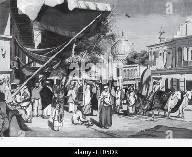 Eine Straße am Rückseite Jumma Moschee; Delhi; Indien - Stockfoto