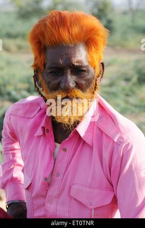 Porträt eines alten Mannes; Jodhpur; Rajasthan; Indien - Stockfoto