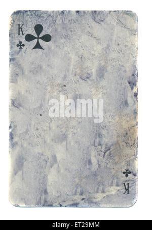 leere Grunge Spielkarte Papierhintergrund mit Zeichen isoliert auf weiss - Stockfoto