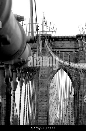 Die Brooklyn-Brücke über den East River von Manhattan nach Brooklyn. Die Brücke ist eine Hybrid Kabel-gebliebene - Stockfoto