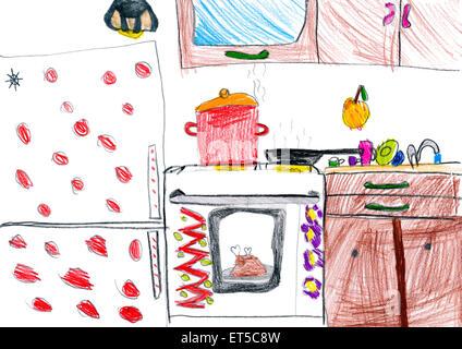 Kuche Interieur Kinder Zeichnen Stockfoto Bild 83712628 Alamy