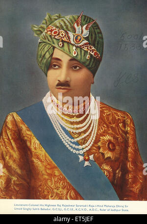Fürsten von Indien Hoheit Raj Rajeshwar Saramad Raja Hind Maharadscha Dhiraj Sir Umaid Singhji Sahib Bahadur Herrscher - Stockfoto