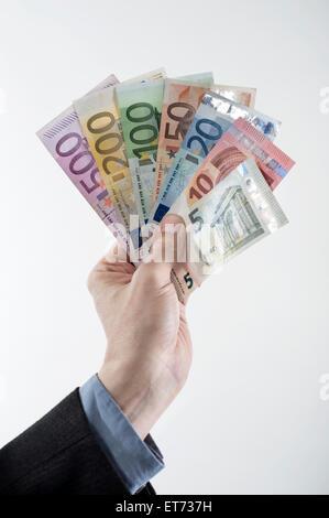 Das Unternehmer Hand mit Euro-Banknoten, Bayern, Deutschland - Stockfoto