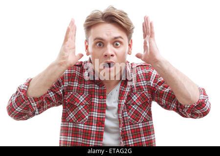 Überrascht, Kerl, zeigt Wunder - Stockfoto