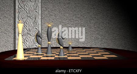 Strategischen Schachzug Konzept. Schachmatt mit zwei Ritter und eine Dame auf einem Schachbrett aus Glas gemacht. - Stockfoto