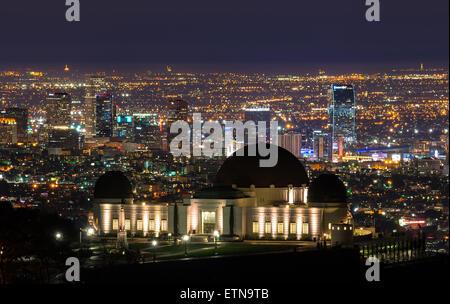 Griffith Observatory und der Innenstadt von Los Angeles, Kalifornien, USA - Stockfoto