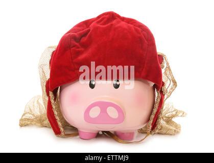 Piggy Bank tragen ein tudor-Hut-Schnittmuster Stockfoto, Bild ...