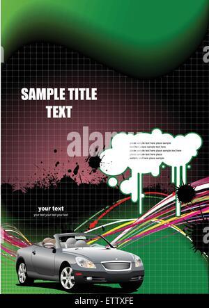 Schwarze und grüne abstrakten Hintergrund mit Cabriolet Bild. Vektor-illustration - Stockfoto