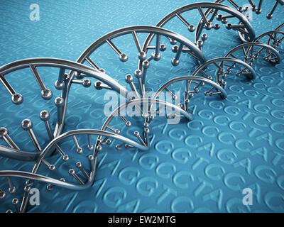 DNA-Stränge Hintergrund mit blauen Farbtönen. - Stockfoto