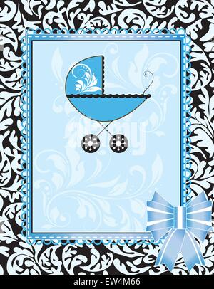 Vintage baby dusche Einladungskarte mit verzierten Elegante abstrakt Floral Design, Licht, Blau auf Schwarz mit - Stockfoto